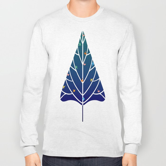 Tree with birds (blue-red) Long Sleeve T-shirt