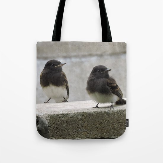 Young Black Phoebes Tote Bag