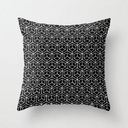 Hand Drawn Hypercube Black Throw Pillow