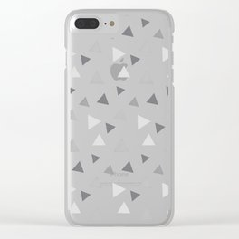 Modern geometrical pastel gray white triangles pattern Clear iPhone Case