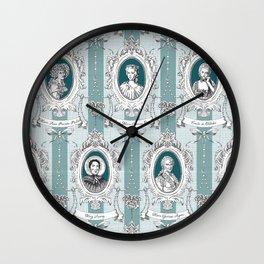 Science Women Toile de Jouy - Teal Wall Clock