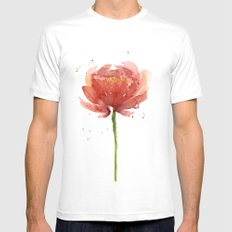Red Flower Watercolor Floral Painting MEDIUM White Mens Fitted Tee
