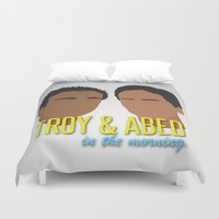 caleb troy Duvet Covers featuring Troy & Abed In The Morning - Community by Tino-George