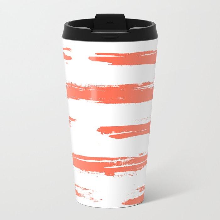 Brushed Stripe Deep Coral on White Metal Travel Mug