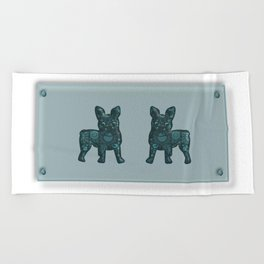 Patches French Bulldog Twins Beach Towel