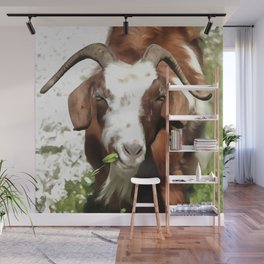 Portrait of a Horned Goat  Wall Mural