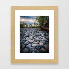 Dry Riverbed at Sunset Framed Art Print