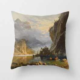 Albert Bierstadt - Indians Spear Fishing (1862) Throw Pillow