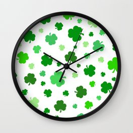 Green Shamrock Pattern Wall Clock