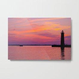 Purple and Orange Sunset Lake Michigan Muskegon Lighthouse Metal Print