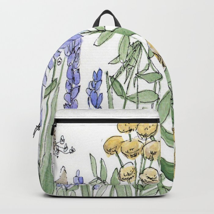 Asters and Wild Flowers Botanical Nature Floral Backpack