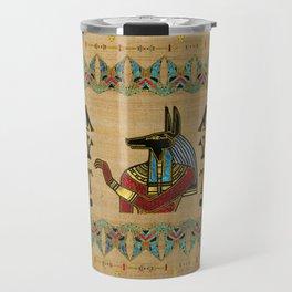 Egyptian Anubis Ornament on papyrus Travel Mug