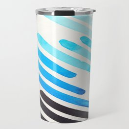 Cerulean Blue Watercolor Colorful Stripes Mid Century Modern Art Primitive Abstract Art Travel Mug