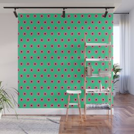 Pink Daisies on Mint Green Wall Mural