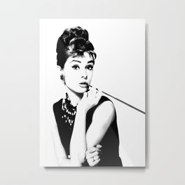 Audrey, Black and White Art, Cigarette Holder Metal Print