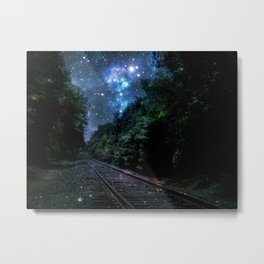 Train Tracks : Next Stop Anywhere Blue Side View Metal Print