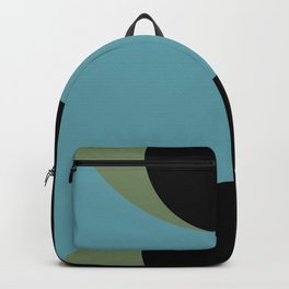 A strong Blue circular wave entering a green and black seaside. Backpack