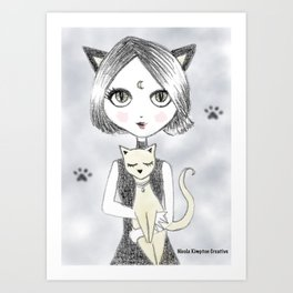 Moon Cat Girl Art Print