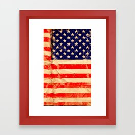 Vintage USA Flag Framed Art Print
