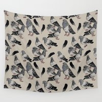 pigeon Wall Tapestries featuring Pigeon Pattern by Margrethe Pedersen