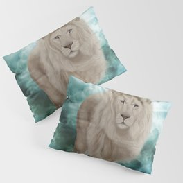 Awesome white lion in the sky Pillow Sham