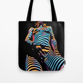 1813s-AK Zebra Striped Woman Hand on Pubis Rendered Composition Style by Chris Maher Tote Bag