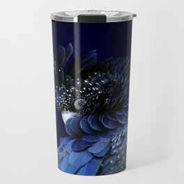 Australian Red-Tailed Black Cockatoo in Blue Travel Mug