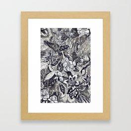 Silver and black floral Framed Art Print
