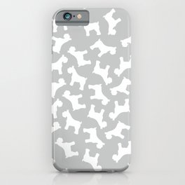 Silver Schnauzers - Simple Dog Silhouettes Pattern iPhone Case
