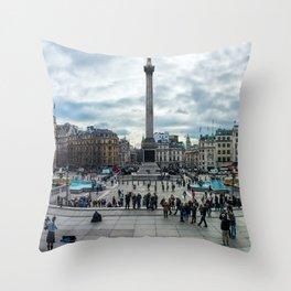 London Trafalgar Square Panorama Throw Pillow