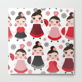 Seamless pattern spanish Woman flamenco dancer. Kawaii cute face with pink cheeks and winking eyes. Metal Print