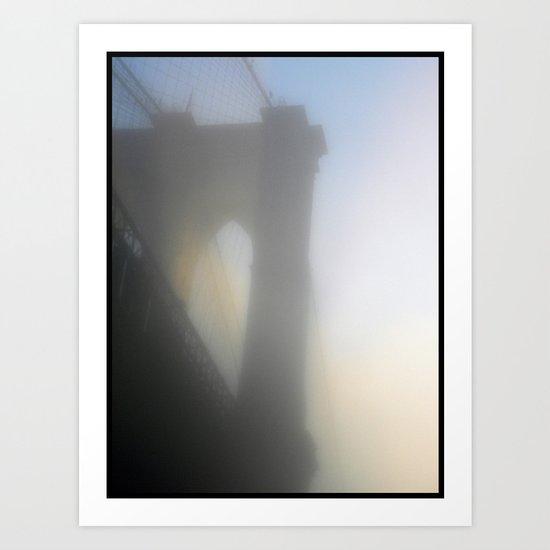 Fog Under Roebling's Bridge Art Print