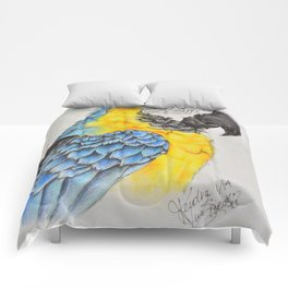 Blue and gold Macaw Comforters