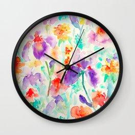 Watercolor Abstract Floral Pattern purple Orange Blue Iris Wall Clock
