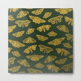 Golden Moths in Green Metal Print