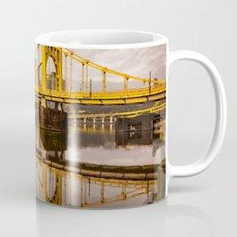Pittsburgh Steel City Skyline Bridge Pennsylvania Gold Print Coffee Mug