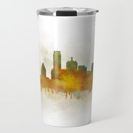 Dallas Texas City Skyline watercolor v03 Travel Mug