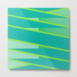 Aqua Green Geometric Stripe Metal Print