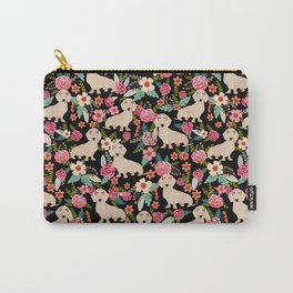 Doxie Florals - vintage doxie and florals gift gifts for dog lovers, dachshund decor, cream doxie Carry-All Pouch