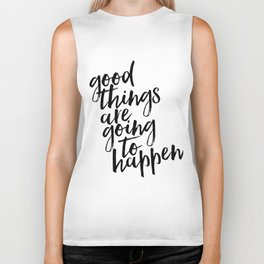 Good Things Are Going To Happen, Watercolor Wall Art, Blue Wall Art Biker Tank