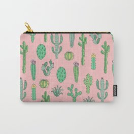 Cactus Pattern Pink Carry-All Pouch