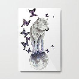 Lone Wolf Moon Metal Print