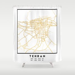 TEHRAN IRAN CITY STREET MAP ART Shower Curtain