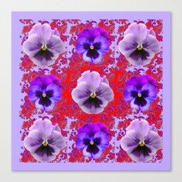 RED & PURPLE PANSIES GARDEN PATTERN Canvas Print