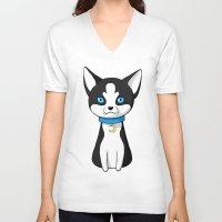 husky V-neck T-shirts featuring Husky by Freeminds