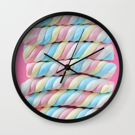 Pastel Rainbow Marshmallow Candy Wall Clock