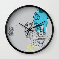 robots Wall Clocks featuring Robots by Simone Jessup