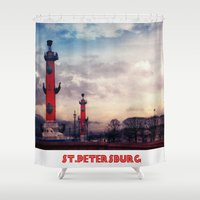 postcard Shower Curtains featuring Postcard from St.Petersburg by Armine Nersisian