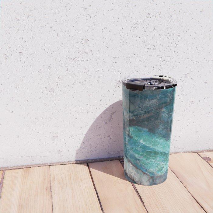 Cerulean Blue Marble Travel Mug