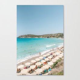 Vulisma Beach Crete, Greece   Travel Photography Print Light Colors Canvas Print